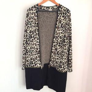Chico's leopard print long cardigan